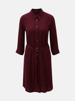 Vínové košilové šaty s 3/4 rukávem Dorothy Perkins Berry