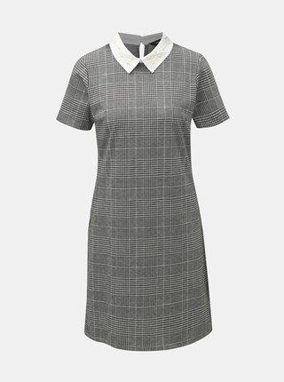 Šedé vzorované šaty s ozdobným límečkem Dorothy Perkins Pearl