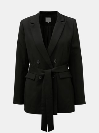 Čierne sako s textilným opaskom VILA Vitora