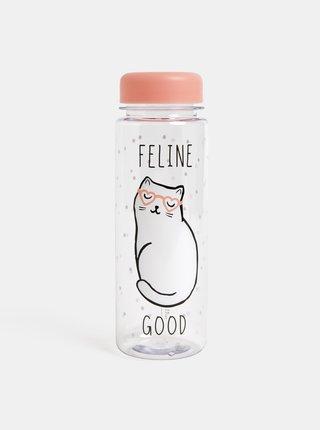 Sticla de apa transparenta cu motiv pisica Sass & Belle Cutie Cat