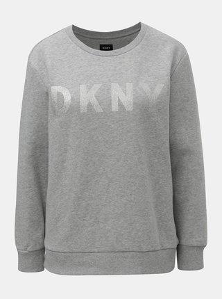 Světle šedá žíhaná mikina s potiskem ve stříbrné barvě DKNY Crew Neck