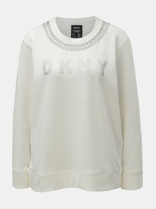 Bluza sport crem cu pietre decorative DKNY