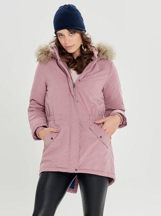 Geaca parka roz de iarna cu blana artificiala Jacqueline de Yong Star
