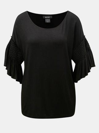 Černé tričko se zvonovým rukávem DKNY Bell