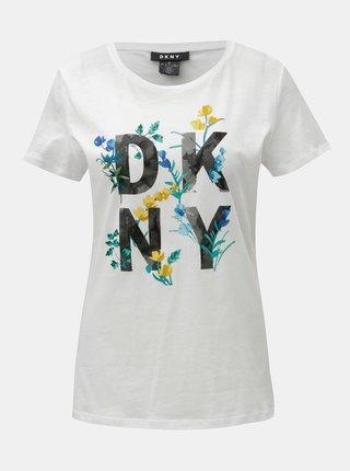 Tricou alb cu imprimeu DKNY