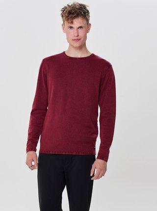Vínový sveter s dlhým rukávom ONLY & SONS Garson