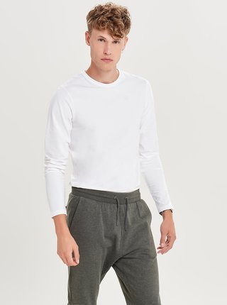 Tricou basic alb cu maneci lungi ONLY & SONS