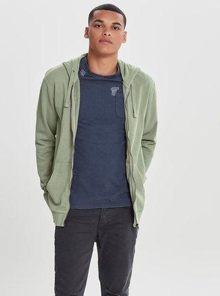 Bluza sport verde deschis cu fermoar ONLY & SONS Jayce