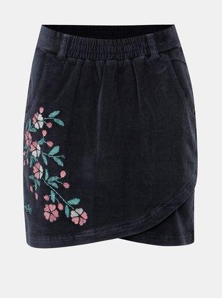 Tmavě modrá manšestrová sukně s výšivkou Maloja Fedaclam
