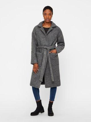 Sivý vlnený kabát s vreckami a opaskom Noisy May Zoe