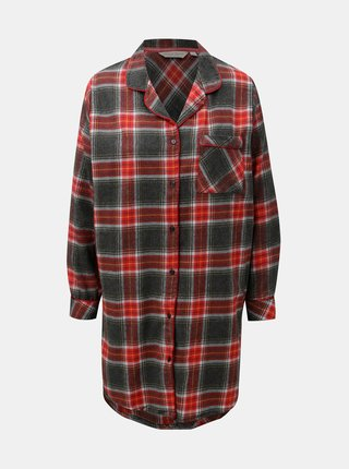 Camasa de noapte gri-rosu din fleece Dorothy Perkins Sleep