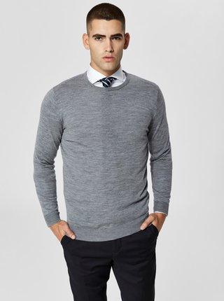 Šedý vlněný lehký svetr s kulatým výstřihem Selected Homme