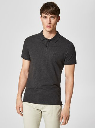 Tricou polo gri inchis melanj Selected Homme Haro