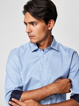 Modrá formální kostkovaná slim fit košile Selected Homme One New