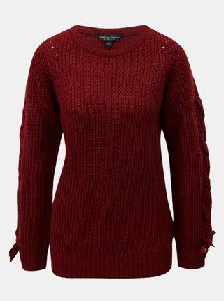 Vínový svetr se šněrováním na rukávech Dorothy Perkins Tie