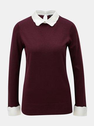 Vínový lehký svetr s všitým košilovým límečkem Dorothy Perkins
