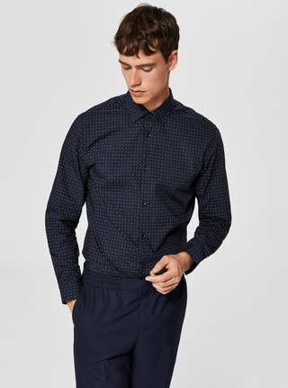 Modrá slim fit košeľa Selected Homme