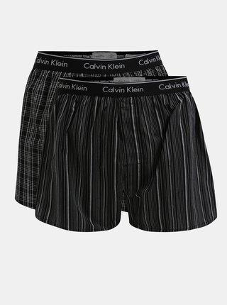 Set de 2 perechi de boxeri negri cu print si logo -  Calvin Klein Underwear