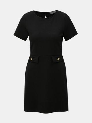 Čierne šaty s detailmi v zlatej farbe Dorothy Perkins Petite