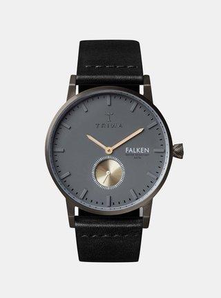 Hodinky s čiernym koženým remienkom TRIWA Walter Falken