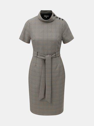 Sivé kockované puzdrové šaty so stojačikom a opaskom Dorothy Perkins Petite