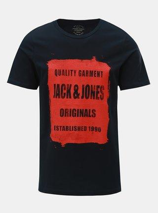 Tricou albastru inchis cu imprimeu Jack & Jones Rejistood