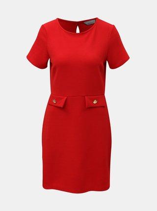 Červené šaty s detailmi v zlatej farbe Dorothy Perkins Petite
