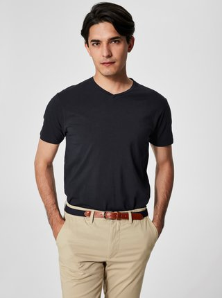 Tricou negru cu decolteu in V Pima de la Selected