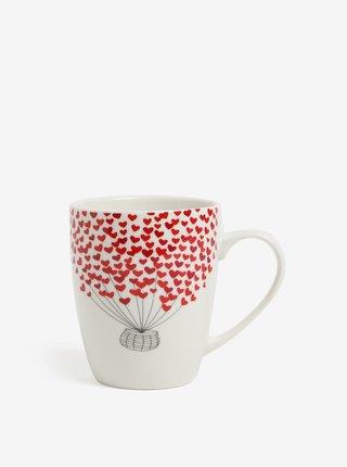 Krémový porcelánový hrnek s motivem balónu a srdcí Kaemingk