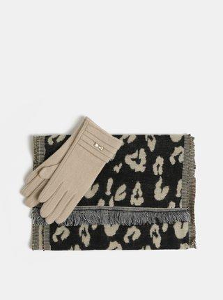 Darčekové balenie šálu a vlnených rukavíc v čiernej a béžovej farbe Something Special