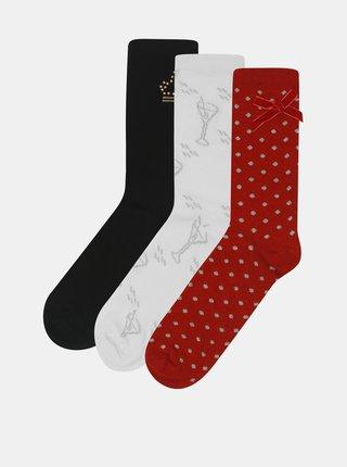 Sada tří párů ponožek v krémové, černé a červené barvě v dárkovém balení Something Special