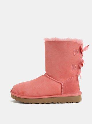 Cizme roz de iarna din piele intoarsa cu blana interioara UGG Bailey Bow