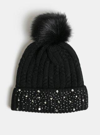 Set cadou de caciula neagra cu pom pom si pietre decorative Something Special Diamante hat