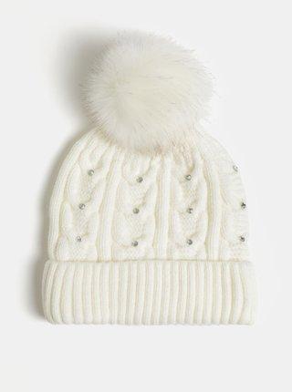 Set cadou de caciula crem cu pom pom si pietre decorative Something Special Diamante hat