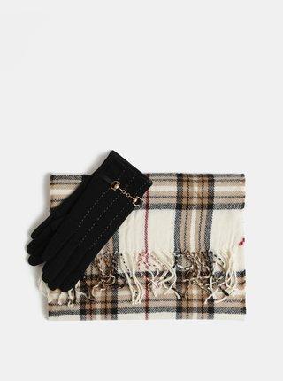 Set cadou de fular si manusi din lana negru si crem Something Special