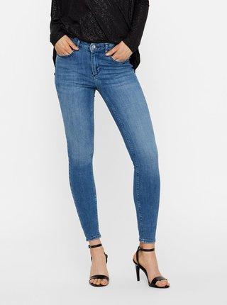 Modré slim džíny s vyšisovaným efektem VERO MODA Lux