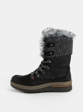Šedo-černé dámské zimní boty se semišovými detaily Weinbrenner