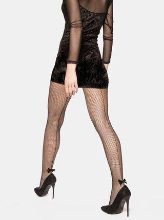 Černé síťované punčochové kalhoty s proužkem a mašličkou v zadní části Andrea Bucci Satin Bow