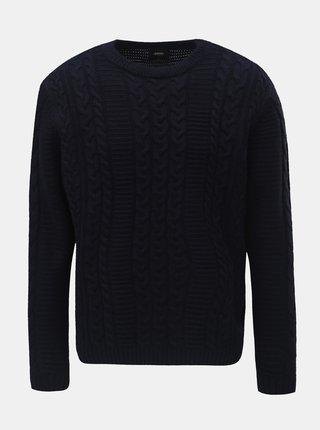Tmavomodrý sveter Burton Menswear London Cable
