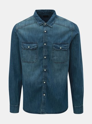 Camasa albastra din denim Burton Menswear London Western