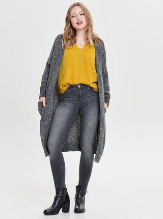 Cardigan lung gri melanj cu amestec de lana ONLY Hanna