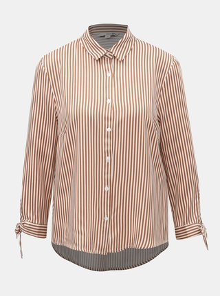 ece0e333a6cf Bielo–hnedá pruhovaná košeľa s mašľou na rukávoch TALLY WEiJL