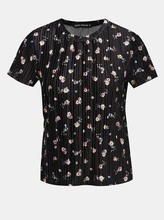Tricou negru catifelat floral cu striatii TALLY WEiJL