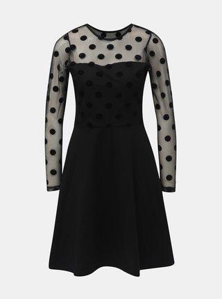 Čierne šaty s priesvitnými bodkovanými rukávmi Dorothy Perkins