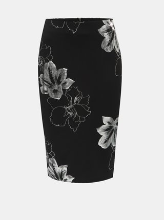 Fusta mulata argintiu-negru florala Dorothy Perkins