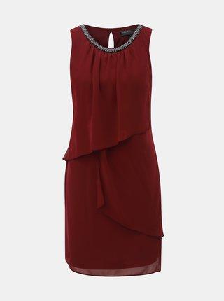 Vínové šaty s volány a zdobeným výstřihem Billie & Blossom