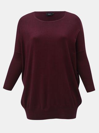 Fialový lehký svetr s netopýřími 3/4 rukávy Zizzi
