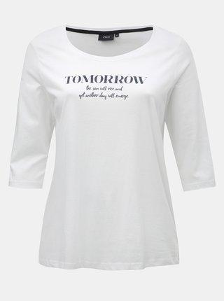 Bílé tričko s potiskem a 3/4 rukávem Zizzi