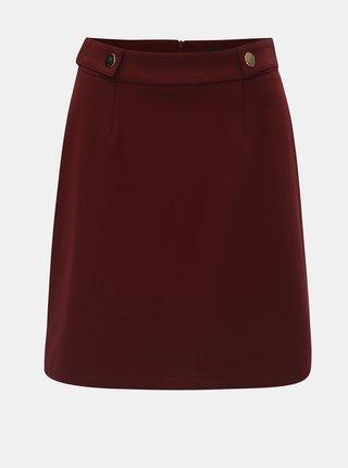 Vínová áčková sukně s detaily ve zlaté barvě Dorothy Perkins