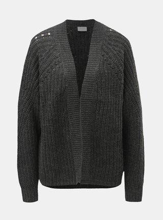 Cardigan gri inchis cu amestec de lana VILA Cabla